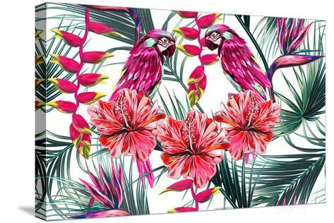 Parrots, Tropical Flowers, Palm Leaves, Hibiscus, Bird of Paradise Flower, Jungle, Beautiful Seamle-NataliaKo-Stretched Canvas Print