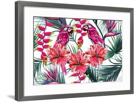 Parrots, Tropical Flowers, Palm Leaves, Hibiscus, Bird of Paradise Flower, Jungle, Beautiful Seamle-NataliaKo-Framed Art Print