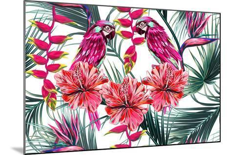 Parrots, Tropical Flowers, Palm Leaves, Hibiscus, Bird of Paradise Flower, Jungle, Beautiful Seamle-NataliaKo-Mounted Art Print
