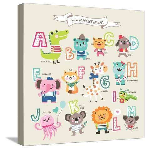 Cute Cartoon Animals Alphabet from A to M- littleWhale-Stretched Canvas Print