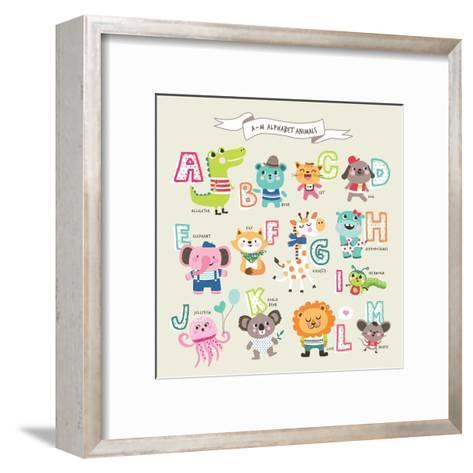 Cute Cartoon Animals Alphabet from A to M- littleWhale-Framed Art Print
