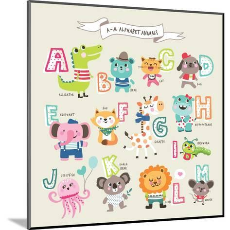 Cute Cartoon Animals Alphabet from A to M- littleWhale-Mounted Art Print