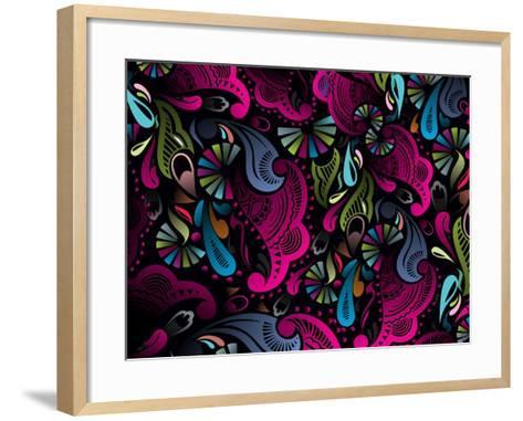 Abstract Floral Pattern, Highly Detailed Seamless Design, Vector Illustration.- redshinestudio-Framed Art Print