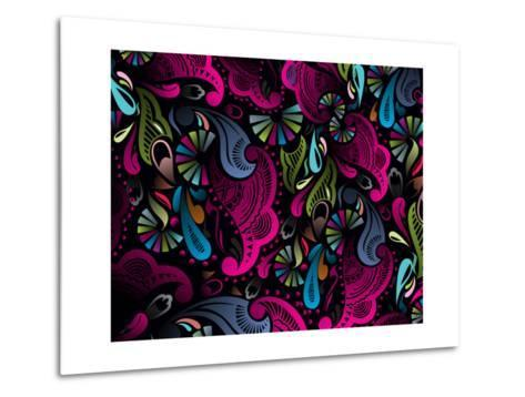 Abstract Floral Pattern, Highly Detailed Seamless Design, Vector Illustration.- redshinestudio-Metal Print