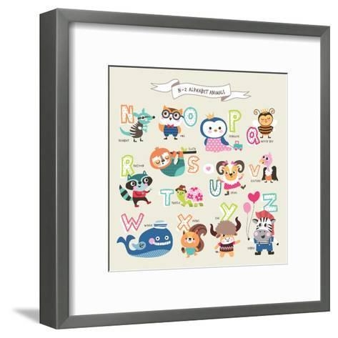 Cute Cartoon Animals Alphabet from N to Z- littleWhale-Framed Art Print