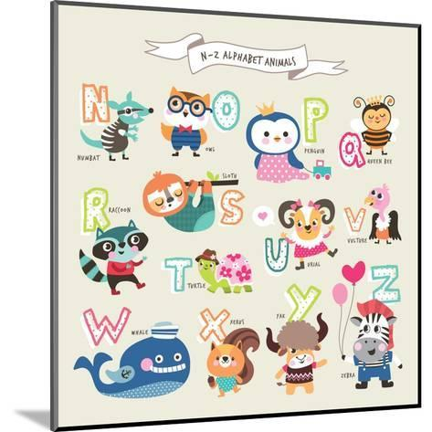 Cute Cartoon Animals Alphabet from N to Z- littleWhale-Mounted Art Print