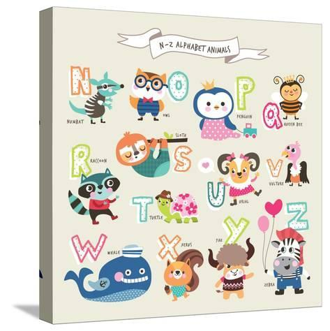 Cute Cartoon Animals Alphabet from N to Z- littleWhale-Stretched Canvas Print