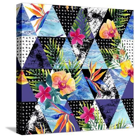 Abstract Grunge and Marble Triangles with Tropical Flowers, Leaves. Exotic Summer Background. Water-Syrytsyna Tetiana-Stretched Canvas Print