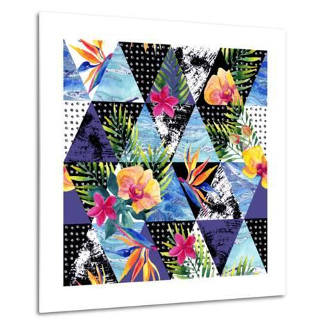 Abstract Grunge and Marble Triangles with Tropical Flowers, Leaves. Exotic Summer Background. Water-Syrytsyna Tetiana-Metal Print