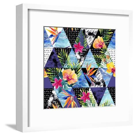 Abstract Grunge and Marble Triangles with Tropical Flowers, Leaves. Exotic Summer Background. Water-Syrytsyna Tetiana-Framed Art Print
