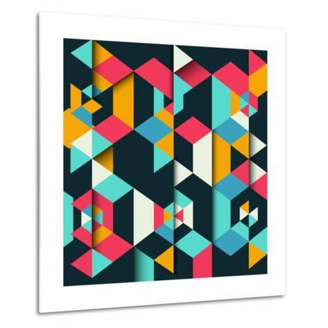 Abstract Geometric Background with a 3D Effect-kjpargeter-Metal Print