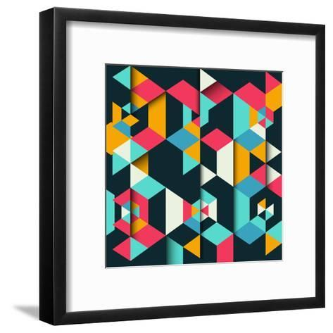 Abstract Geometric Background with a 3D Effect-kjpargeter-Framed Art Print