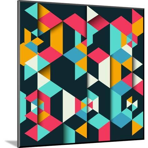 Abstract Geometric Background with a 3D Effect-kjpargeter-Mounted Art Print
