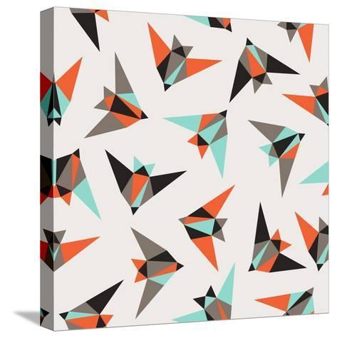 Seamless Geometric Pattern. Flying Birds- Graphiteska-Stretched Canvas Print