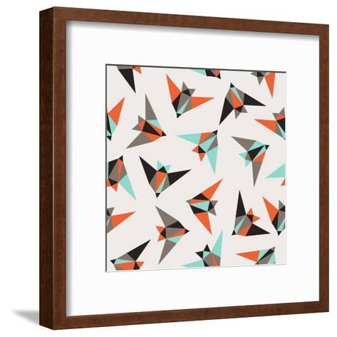 Seamless Geometric Pattern. Flying Birds- Graphiteska-Framed Art Print