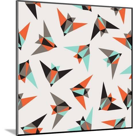Seamless Geometric Pattern. Flying Birds- Graphiteska-Mounted Art Print