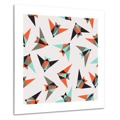 Seamless Geometric Pattern. Flying Birds- Graphiteska-Metal Print