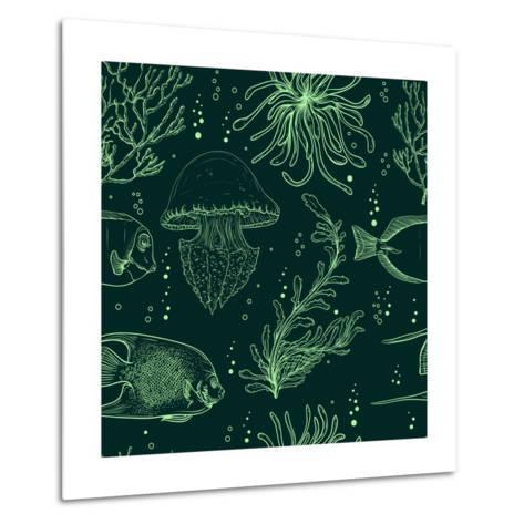 Seamless Pattern with Tropical Fish, Jellyfish, Marine Plants and Seaweed. Vintage Hand Drawn Vecto-Nikolayenko Yekaterina-Metal Print