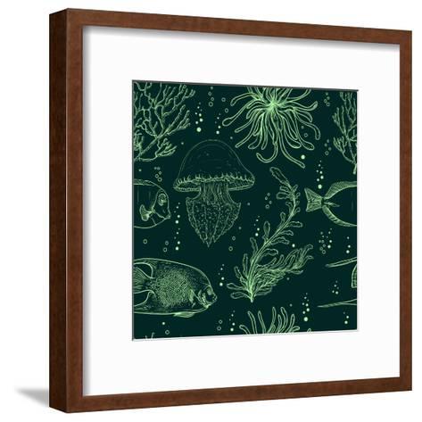 Seamless Pattern with Tropical Fish, Jellyfish, Marine Plants and Seaweed. Vintage Hand Drawn Vecto-Nikolayenko Yekaterina-Framed Art Print