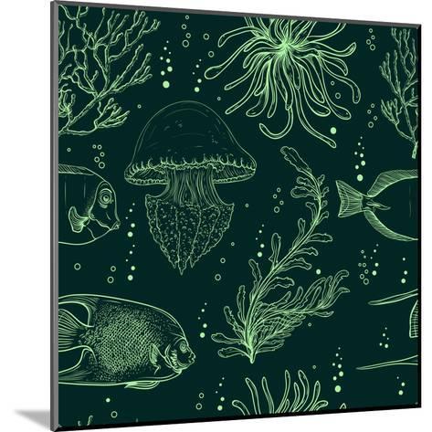 Seamless Pattern with Tropical Fish, Jellyfish, Marine Plants and Seaweed. Vintage Hand Drawn Vecto-Nikolayenko Yekaterina-Mounted Art Print