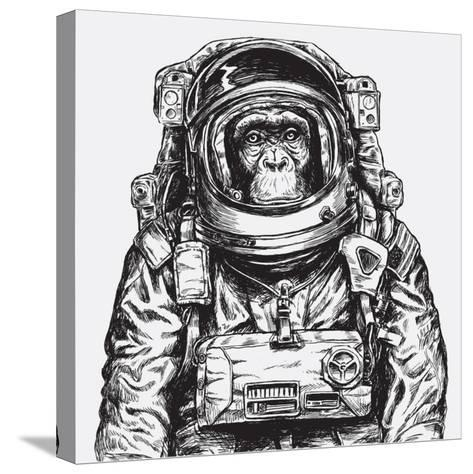 Hand Drawn Monkey Astronaut Vector-Tairy Greene-Stretched Canvas Print