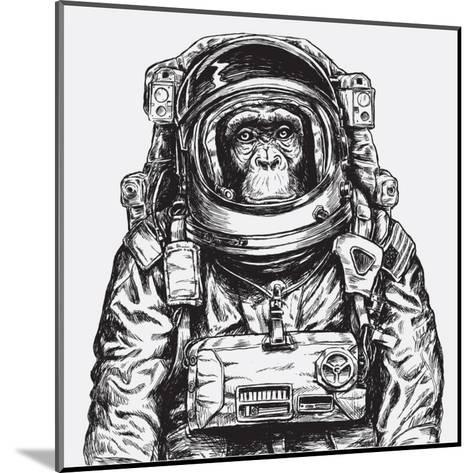 Hand Drawn Monkey Astronaut Vector-Tairy Greene-Mounted Art Print