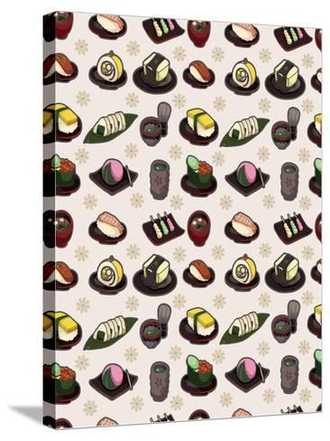 Seamless Japanese Food Pattern-notkoo-Stretched Canvas Print