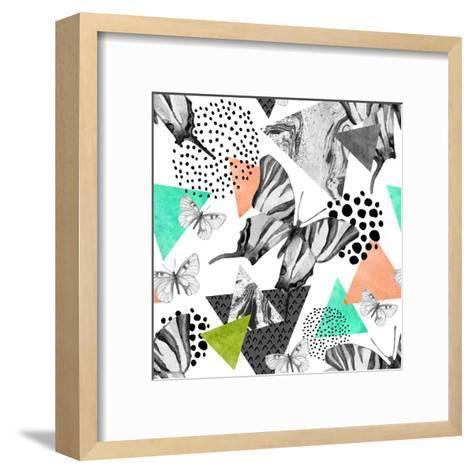 Abstract Natural Geometric Seamless Pattern. Triangles with Butterfly and Marble Grunge Textures. G-Syrytsyna Tetiana-Framed Art Print