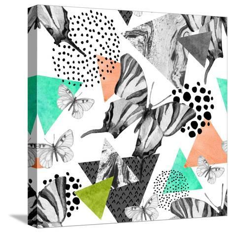 Abstract Natural Geometric Seamless Pattern. Triangles with Butterfly and Marble Grunge Textures. G-Syrytsyna Tetiana-Stretched Canvas Print