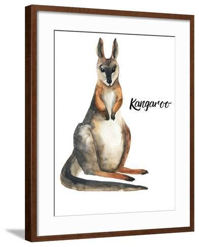 Australian animals watercolor illustration hand drawn wildlife isolated on a white background-Kat_Branch-Framed Art Print