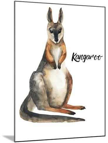 Australian animals watercolor illustration hand drawn wildlife isolated on a white background-Kat_Branch-Mounted Art Print