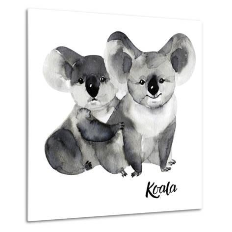 Australian Animals Watercolor Illustration Hand Drawn Wildlife Isolated on a White Background. Koal-Kat_Branch-Metal Print