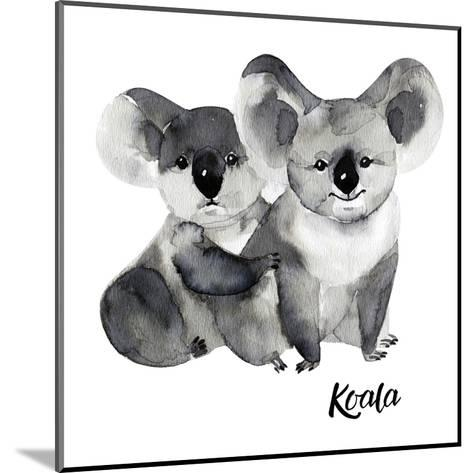 Australian Animals Watercolor Illustration Hand Drawn Wildlife Isolated on a White Background. Koal-Kat_Branch-Mounted Art Print