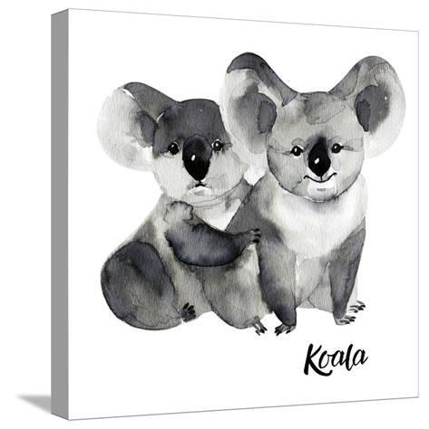 Australian Animals Watercolor Illustration Hand Drawn Wildlife Isolated on a White Background. Koal-Kat_Branch-Stretched Canvas Print