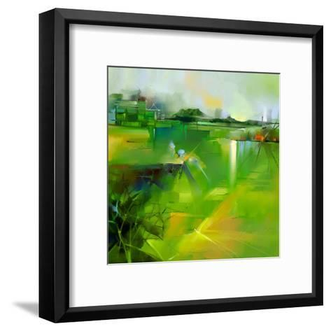 Abstract Colorful Yellow and Green Oil Painting Landscape on Canvas. Semi- Abstract Image of Tree,-pluie_r-Framed Art Print