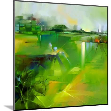 Abstract Colorful Yellow and Green Oil Painting Landscape on Canvas. Semi- Abstract Image of Tree,-pluie_r-Mounted Art Print