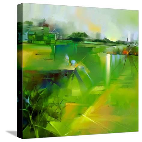 Abstract Colorful Yellow and Green Oil Painting Landscape on Canvas. Semi- Abstract Image of Tree,-pluie_r-Stretched Canvas Print