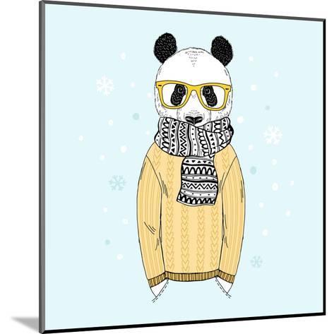 Panda Dressed up in Jacquard Pullover-Olga_Angelloz-Mounted Art Print