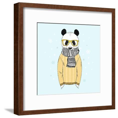 Panda Dressed up in Jacquard Pullover-Olga_Angelloz-Framed Art Print