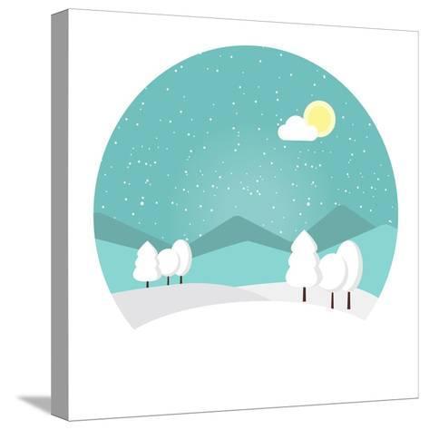 Winter Landscape. Snowy Mountain. Winter Time. Wonderful Winter Morning of Christmas. Blue Landscap- Roosje-Stretched Canvas Print