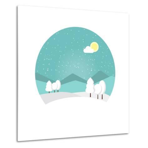 Winter Landscape. Snowy Mountain. Winter Time. Wonderful Winter Morning of Christmas. Blue Landscap- Roosje-Metal Print