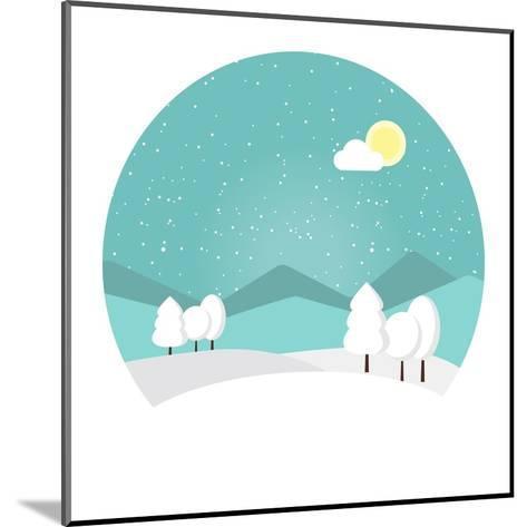 Winter Landscape. Snowy Mountain. Winter Time. Wonderful Winter Morning of Christmas. Blue Landscap- Roosje-Mounted Art Print