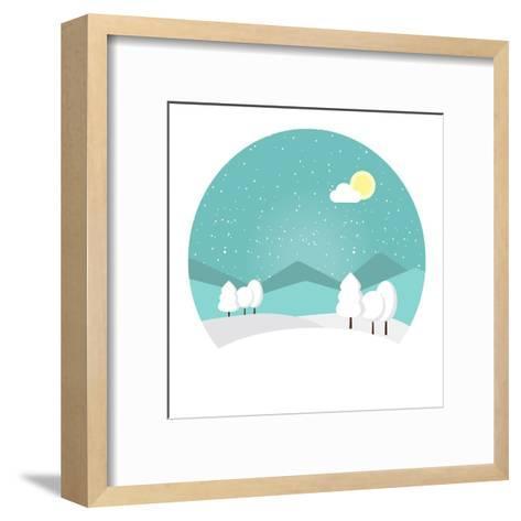 Winter Landscape. Snowy Mountain. Winter Time. Wonderful Winter Morning of Christmas. Blue Landscap- Roosje-Framed Art Print