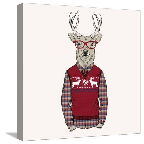 Deer Dressed up in Pullover-Olga_Angelloz-Stretched Canvas Print
