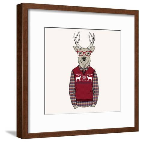 Deer Dressed up in Pullover-Olga_Angelloz-Framed Art Print