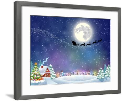 Meryy Christmas and Happy New Year Vintage Greeting Card on Winter Village. Santa Claus with Deers-DRogatnev-Framed Art Print