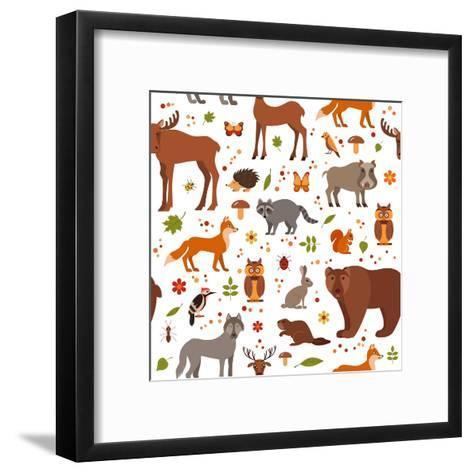 Cartoon Forest Animals-Glinskaja Olga-Framed Art Print