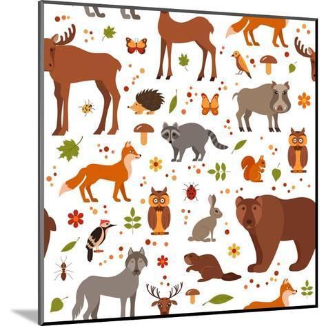 Cartoon Forest Animals-Glinskaja Olga-Mounted Art Print