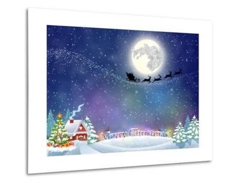 Meryy Christmas and Happy New Year Vintage Greeting Card on Winter Village. Santa Claus with Deers-DRogatnev-Metal Print