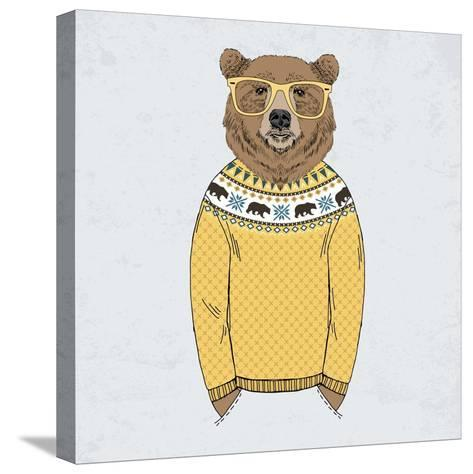 Bear Dressed up in Pullover-Olga_Angelloz-Stretched Canvas Print